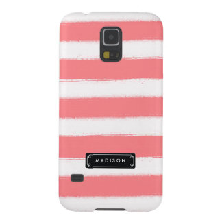 Stylish Chic Coral Stripes Personalized Galaxy S5 Case