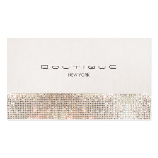 Stylish Chic Faux Sparkly Sequins and Beige Linen Pack Of Standard Business Cards