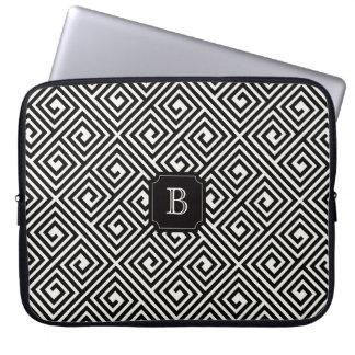 Stylish Chic Modern Black Ivory Greek Key Monogram Laptop Sleeve
