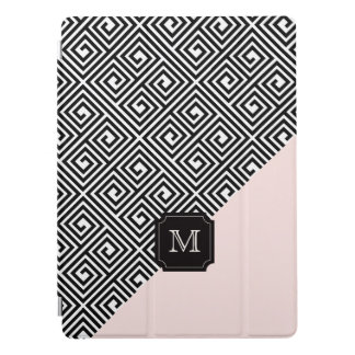 Stylish Chic Modern Black Pink Greek Key Monogram iPad Pro Cover