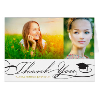 Stylish Chic Script Graduation Thank You Photo Card
