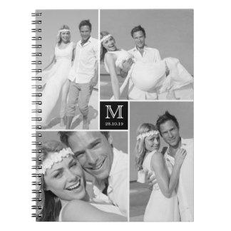 Stylish Chic Square Monogram Wedding Photo Collage Notebooks