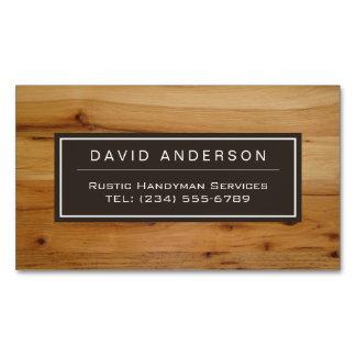 Stylish Chic Wood Grain Woodgrain Look Magnetic Business Card