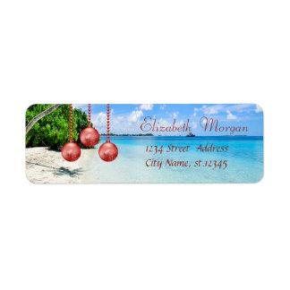 Stylish ,Christmas, Beach,Christmas Balls Return Address Label