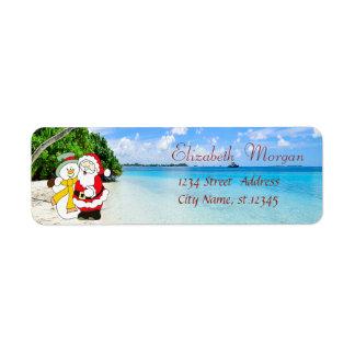 Stylish ,Christmas, Beach,Santa Claus And Snowman Return Address Label