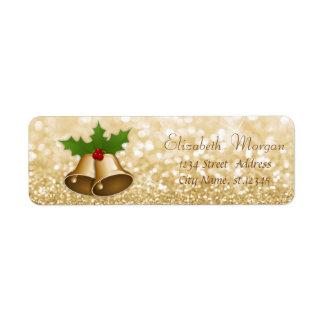 Stylish Christmas Bells Holly  Branches,Glittery Return Address Label