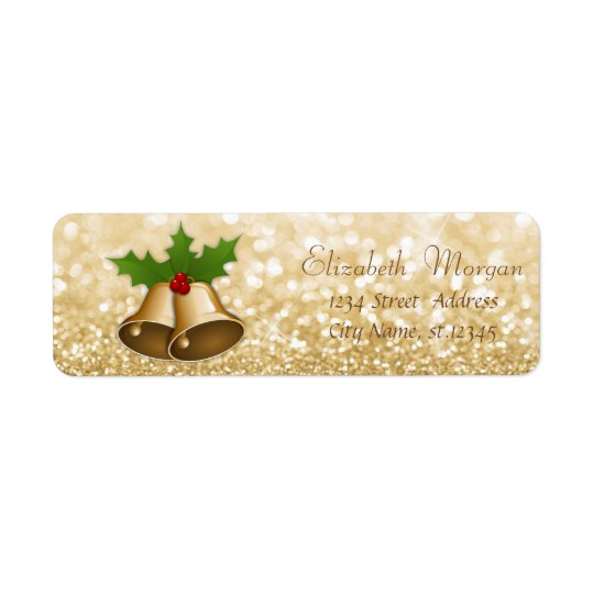 Stylish Christmas Bells Holly  Branches,Glittery Return Address Label
