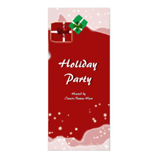 Stylish Christmas holiday party snow gift 4x9.25 Paper Invitation Card