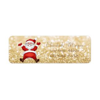 Stylish Christmas,Santa Claus ,Glittery Return Address Label