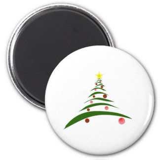 Stylish Christmas Tree 6 Cm Round Magnet