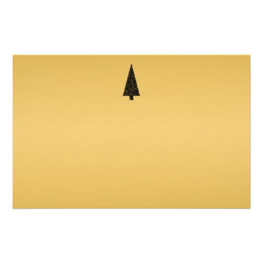 Stylish Christmas Tree. Black and Gold. Custom Stationery