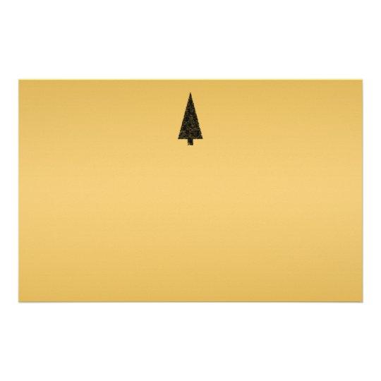 Stylish Christmas Tree. Black and Gold. Stationery
