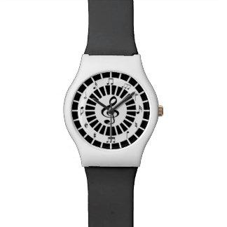 Stylish circular black white musical notes design watch