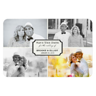 Stylish Classic Plate Save The Date Photo Magnet Vinyl Magnets