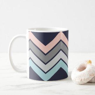Stylish Coffee Mug Navy with Pastel Chevron