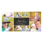 Stylish Collage Birth Announcement - Charcoal Photo Card