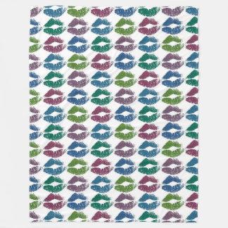 Stylish Colorful Lips #10 Fleece Blanket