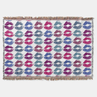 Stylish Colorful Lips #7 Throw Blanket