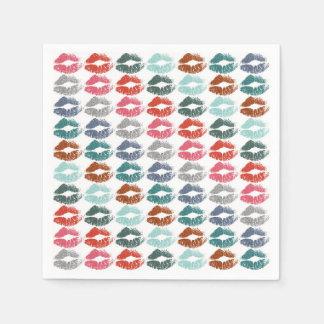 Stylish Colourful Lips #33 Disposable Napkins