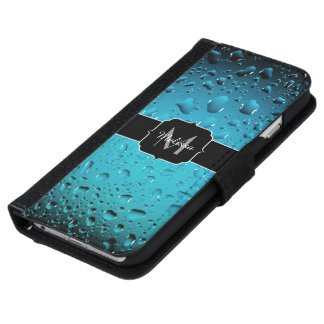 Stylish Cool Blue water drops Monogram iPhone 6 Wallet Case