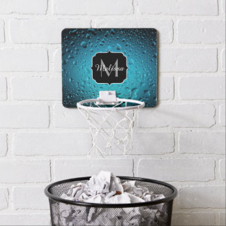 Stylish Cool Blue water drops Monogram Mini Basketball Hoop