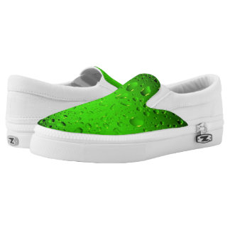 Stylish Cool Green water drops Slip-On Shoes