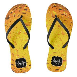 Stylish Cool Yellow water drops beer Monogram Thongs