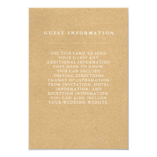 Stylish Country Wedding Guest Information Card