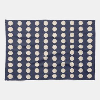 Stylish Creamy White Beige Dot Blue Background Tea Towel