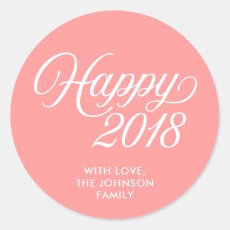 Stylish Cursive New Year Happy 2018 Coral Pink Classic Round Sticker