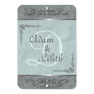 Stylish Customizable Blue Wedding Invitations