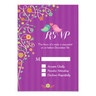 Stylish Cute Purple Swirl Floral Wedding RSVP 9 Cm X 13 Cm Invitation Card