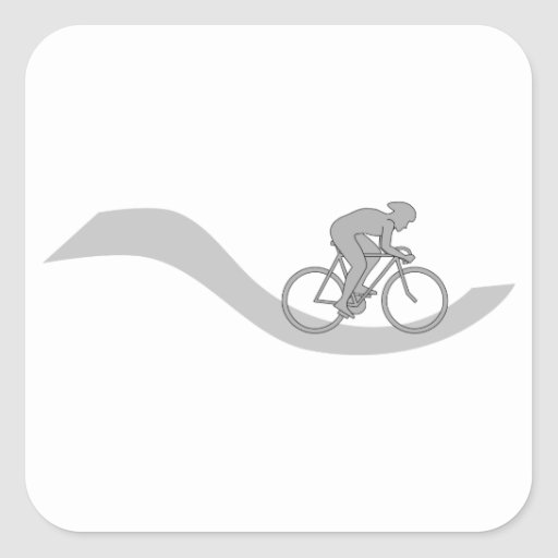 Stylish Cycling Themed Design in Gray. Square Sticker