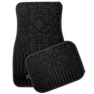 Stylish Damask in a Black Print | Personalise Car Mat