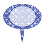 Stylish damask pattern. Blue and white. Oval Cake Pick