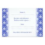 Stylish damask pattern. Blue and white. Invites