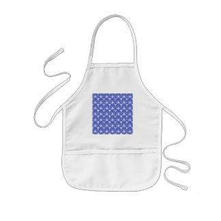 Stylish damask pattern. Blue and white. Kids Apron