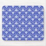 Stylish damask pattern. Blue and white. Mouse Pad