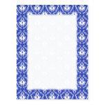 Stylish damask pattern. Blue and white. Postcards