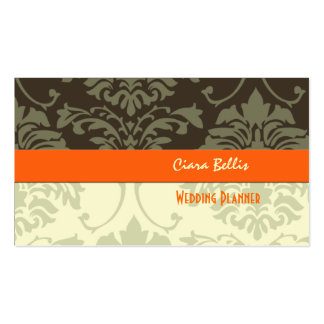 Stylish damask wedding planners business cards