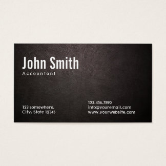 Stylish Dark Leather Accountant Business Card