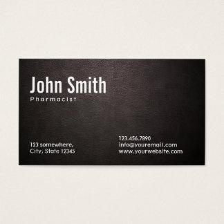 Stylish Dark Leather Pharmacist Business Card