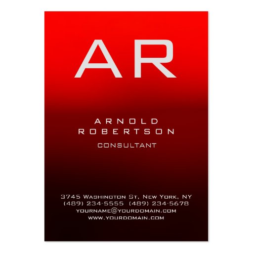 Stylish Dark Red Modern Monogram Business Card