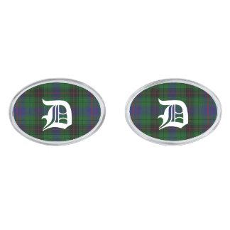 Stylish Davidson Plaid Monogram Cuff Links Silver Finish Cufflinks