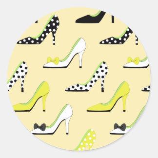 Stylish decorative high heel classic round sticker
