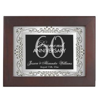 Stylish Decorative Silver 60th Wedding Anniversary Keepsake Box