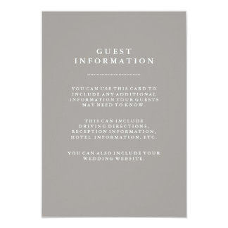 Stylish Deep Gray Wedding Guest Information 9 Cm X 13 Cm Invitation Card