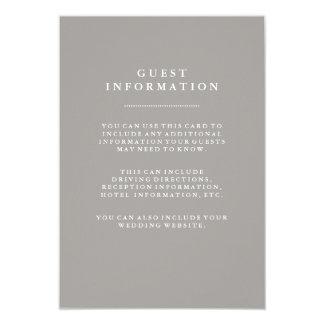 Stylish Deep Gray Wedding Guest Information Card