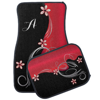 Stylish Deep Red Floral Design | Monogram Car Mat
