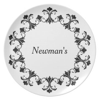 """Stylish Designs"" Blk Iron Border w/Monogram Party Plate"